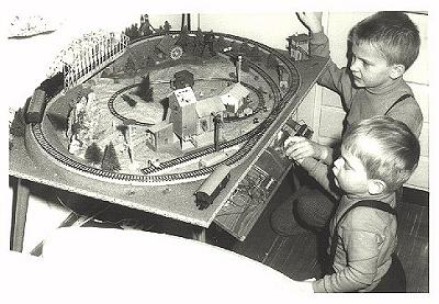The author, his little brother and their model railway...
